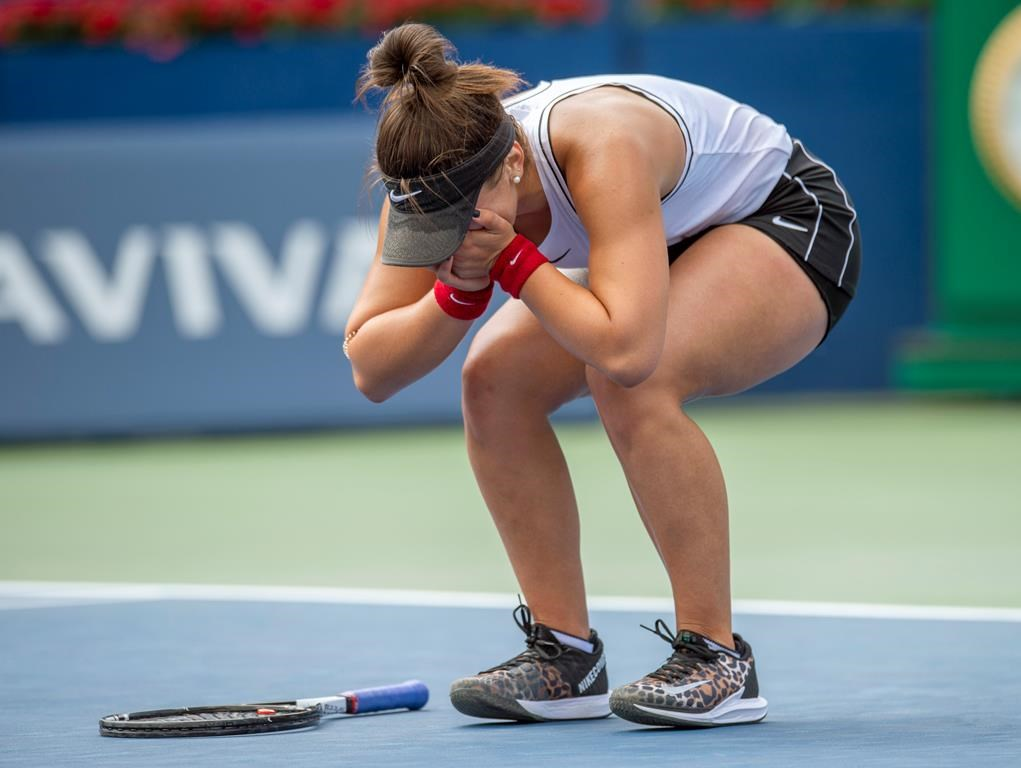 Bianca Andreescu, of Canada, celebrates after defeating Sofia Kenin, of the United States, in Rogers Cup tennis tournament semifinal action in Toronto on Saturday, Aug. 10, 2019.