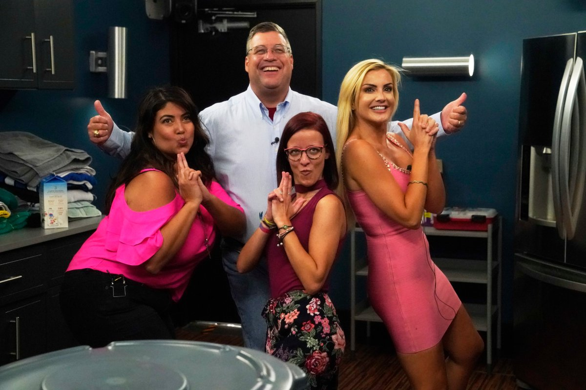 Cliff Hogg with Jessica Milagros, Nicole Anthony and Kathryn Dunn on 'Big Brother.'.