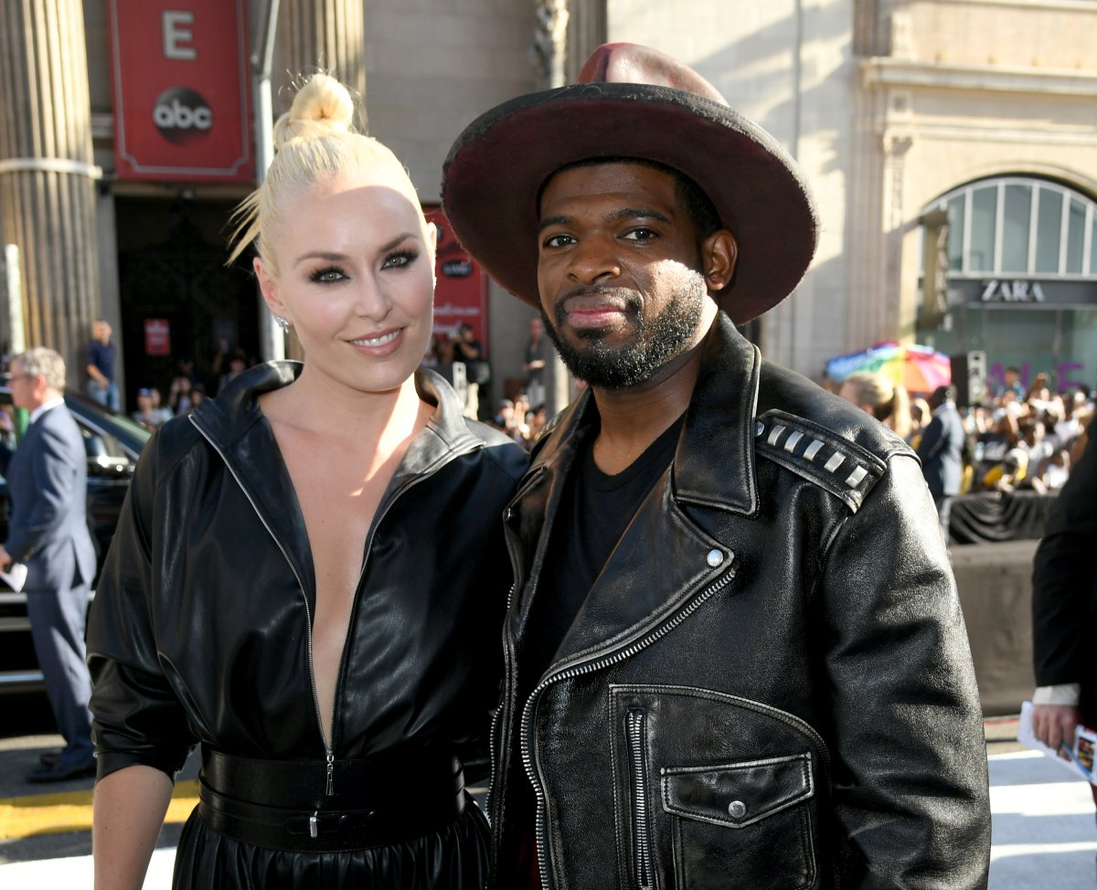 Lindsey Vonn and P.K. Subban arrive at the premiere of 'Fast & Furious Presents: Hobbs & Shaw' at Dolby Theatre on July 13, 2019 in Hollywood, Calif.