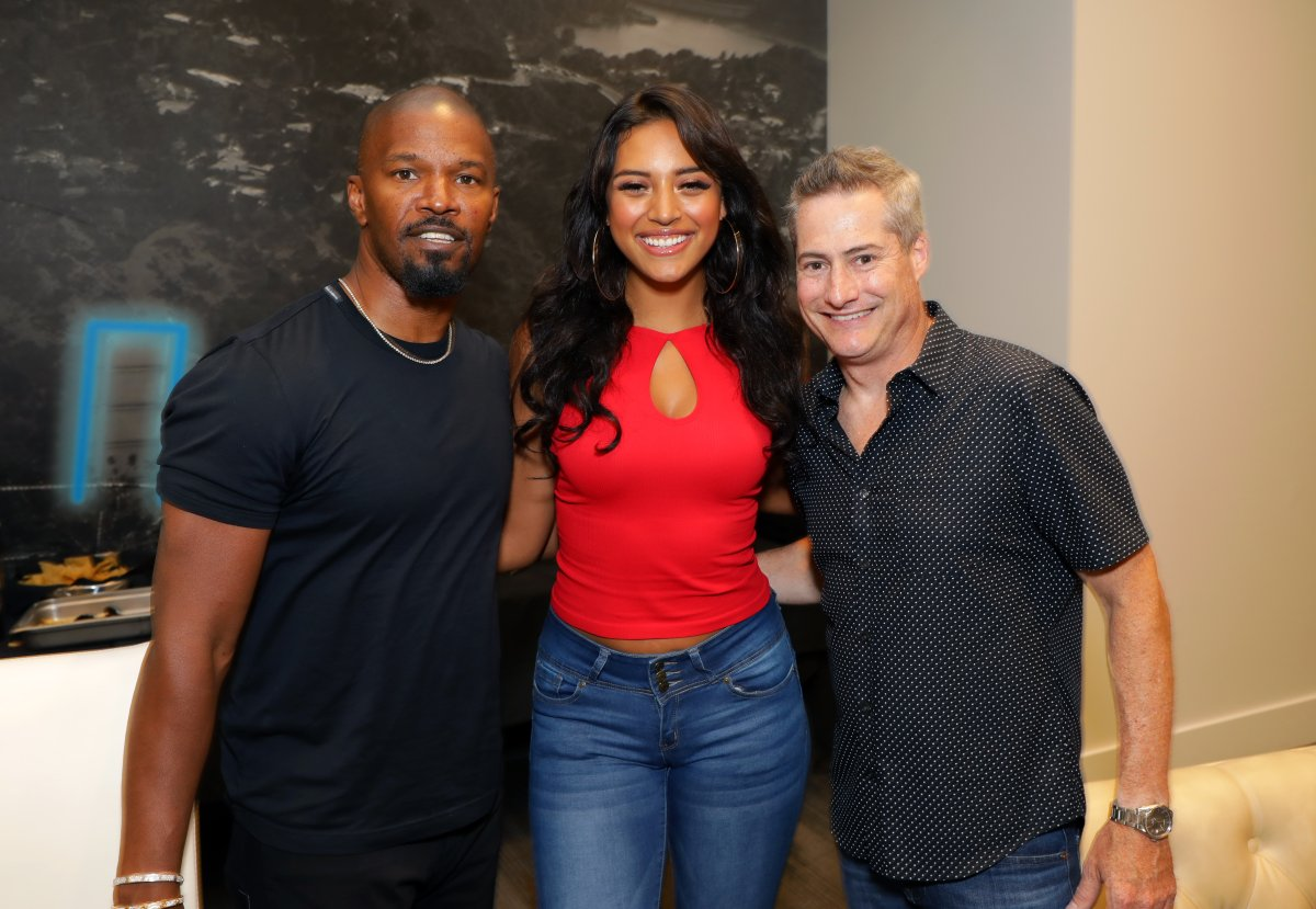 Jamie Foxx, Sela Vave and Adam Selkowitz attend Michael B. Jordan's MBJAM at Dave & Buster's Hollywood on July 27, 2019 in Hollywood, Calif.