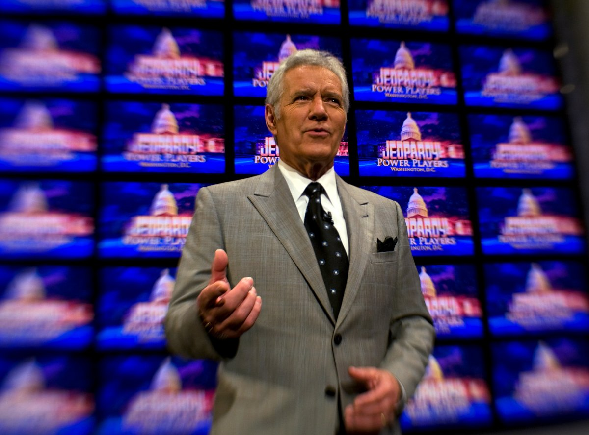 Alex Trebek poses on the set of his game show 'Jeopardy!' on April 21, 2012.