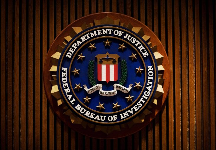 A crest of the Federal Bureau of Investigation is seen Aug. 3, 2007 inside the J. Edgar Hoover FBI Building in Washington, DC.