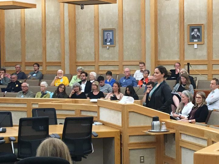 Chris Guerette, CEO of the Saskatoon and Region Home Builders' Association, speaks to city council.