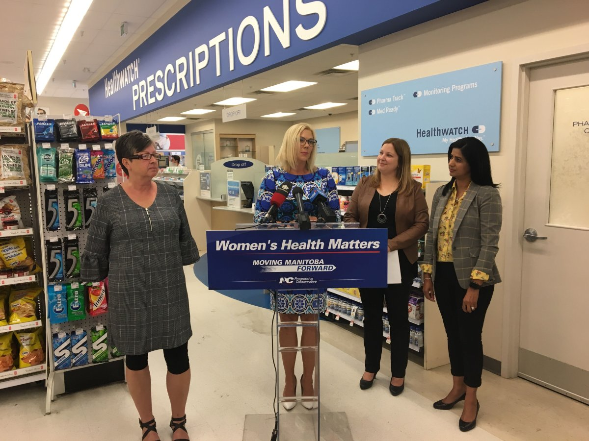 Riel PC candidate Rochelle Squires speaks to media at a specialized women's health care announcement on Aug. 25.