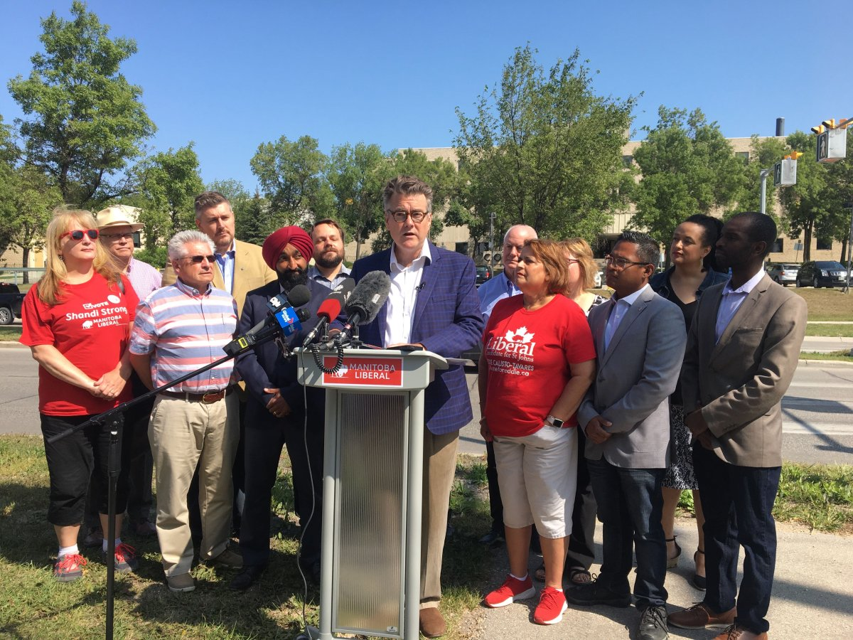 Manitoba Liberal Leader Dougald Lamont making a campaign announcement, Sunday morning.