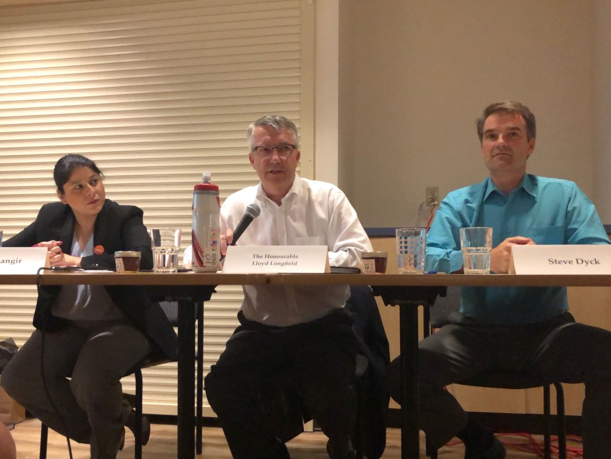 Liberal incumbent Lloyd Longfield (centre), along with Green Party candidate Steve Dyck (right) and the NDP's Aisha Jahangir (left) were all part of a discussion on food insecurity on Tuesday.