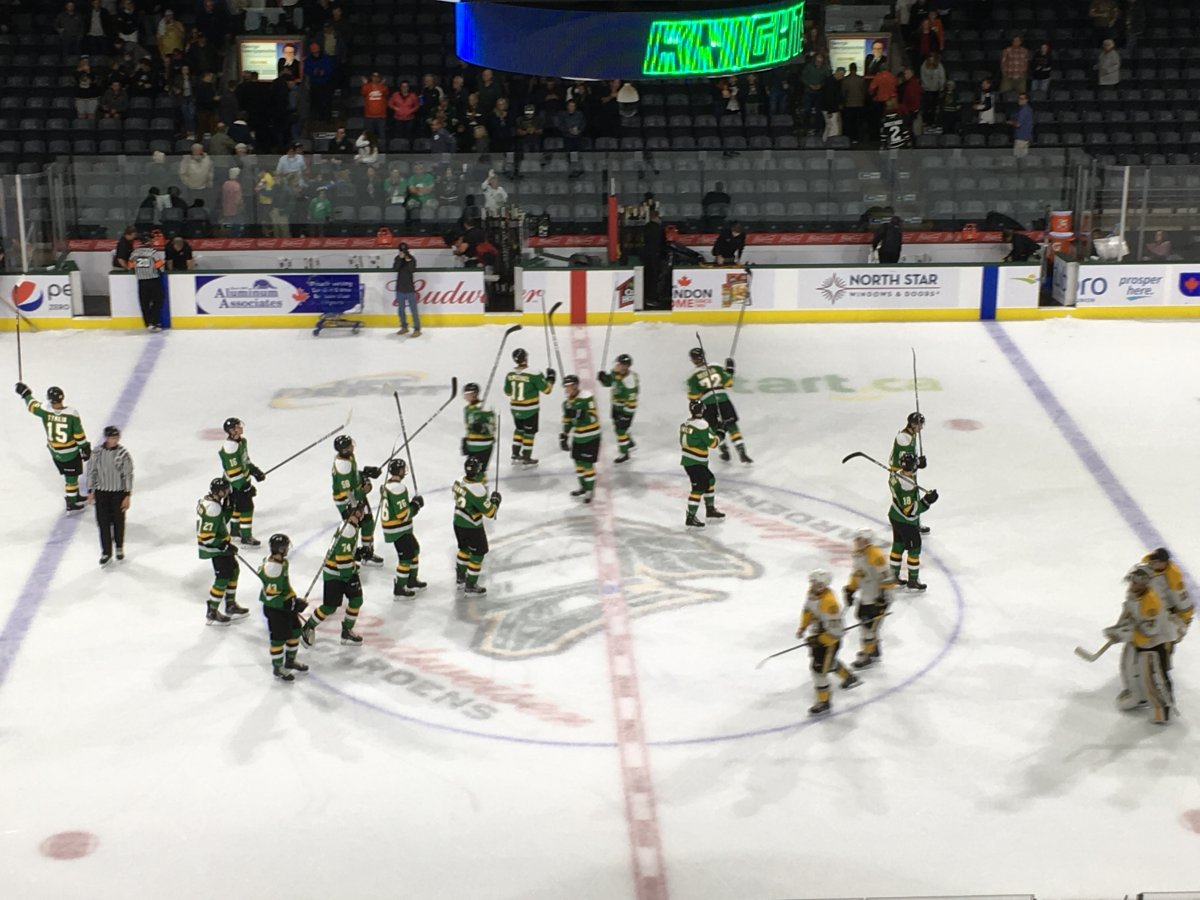 The London Knights celebrate an exhibition win over the Sarnia Sting.