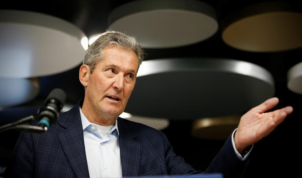 Manitoba PC leader and premier Brian Pallister speaks during a press conference at a medical clinic in Winnipeg, Monday.