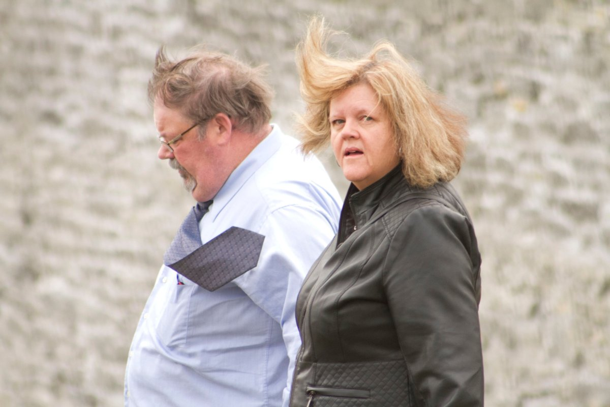 Karen Bagshaw leaves Peterborough Superior Court of Justice alongside husband Fred on Thursday, April 18, 2019 in Peterborough.
