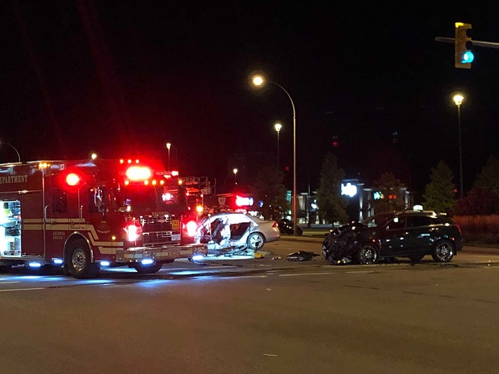 Police say the collision happened around 12:45 a.m. on Tuesday.