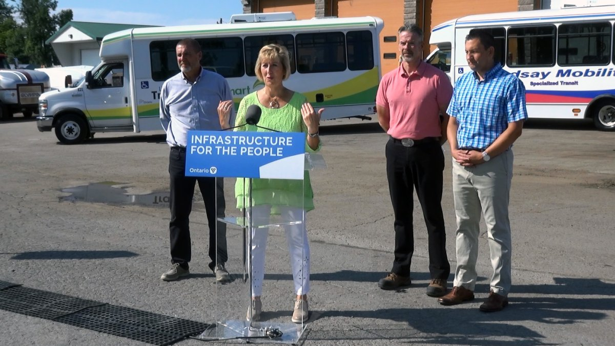 Laurie Scott, Haliburton-Kawartha Lakes Brock MPP, announces funding for transit projects in the City of Kawartha Lakes.