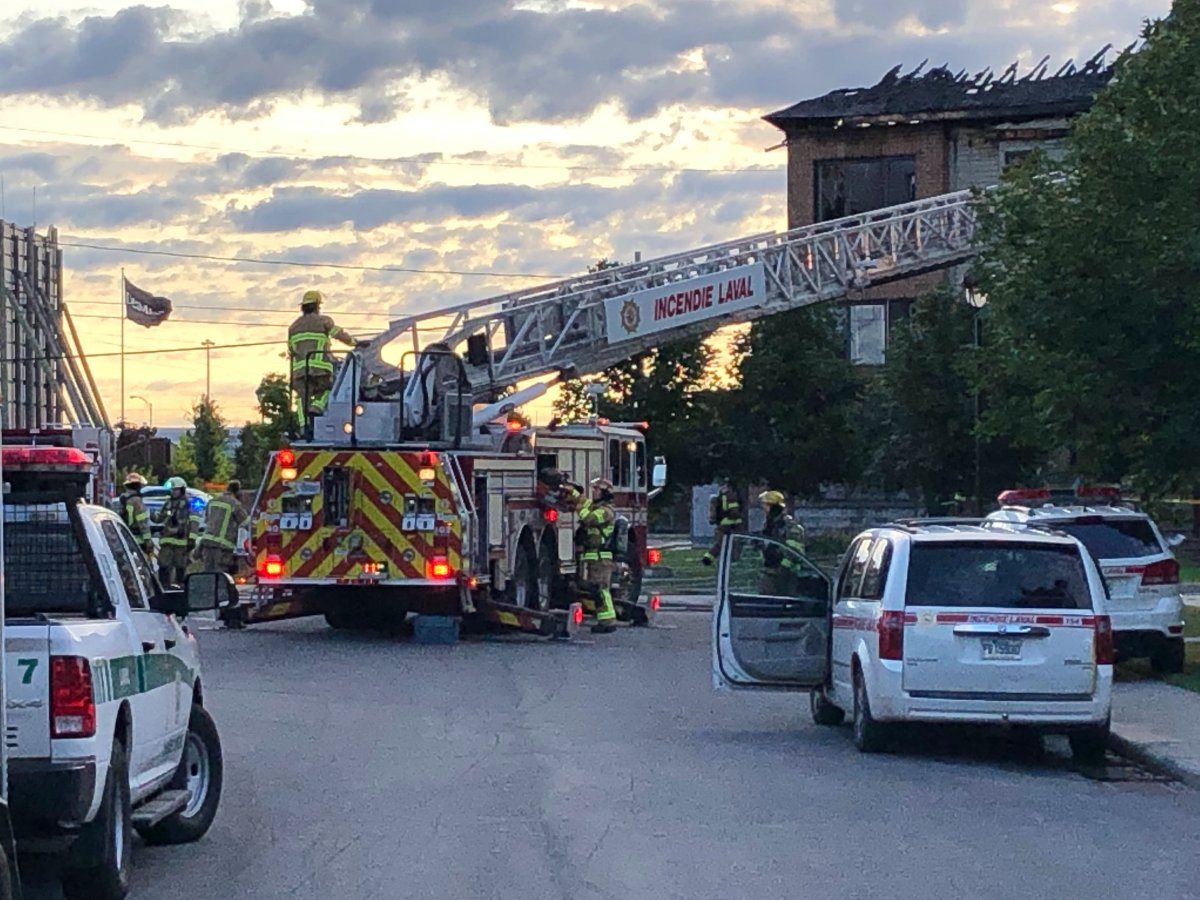 The six-unit building on Frégault Street caught fire at around 4:30 a.m. Wednesday.