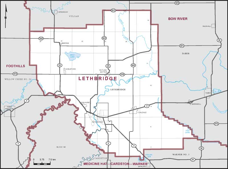 A map of the Lethbridge riding.