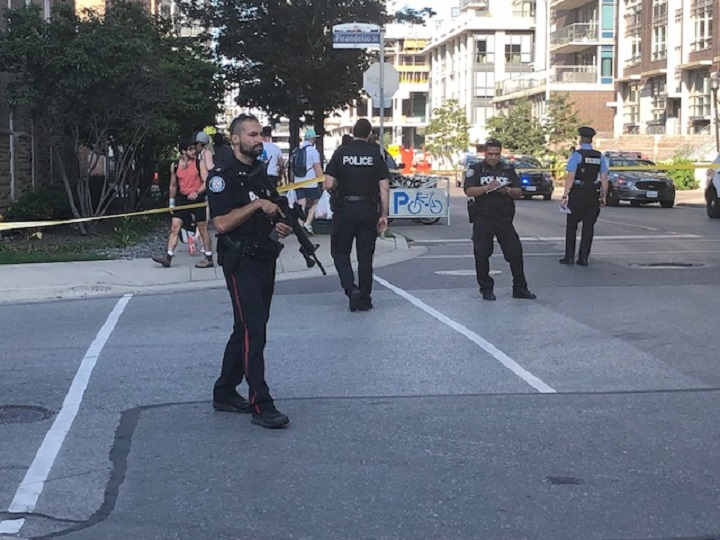 Police were called to Liberty Village a little before 4:30 for numerous reports of gunshots.