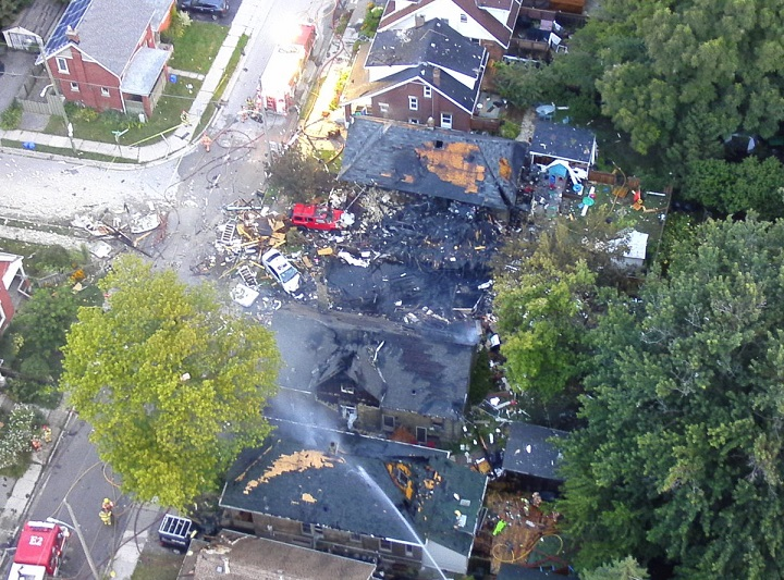 An aerial view of the gas explosion aftermath that damaged multiple homes in London, Ont.