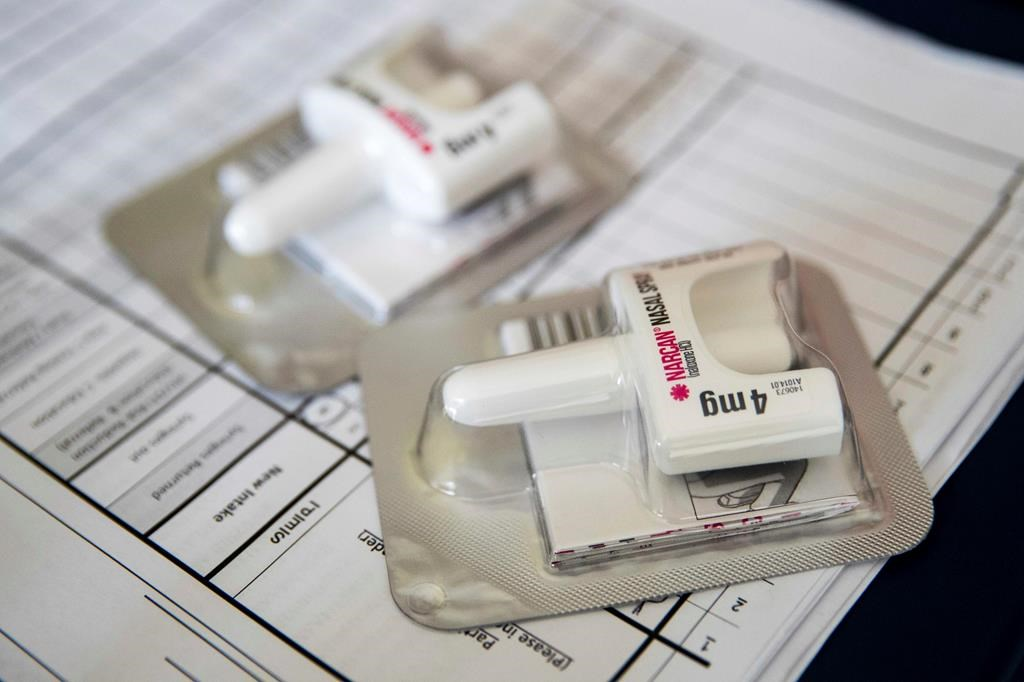 This July 3, 2018 file photo shows a Narcan nasal device which is used on those overdosing from opiods.