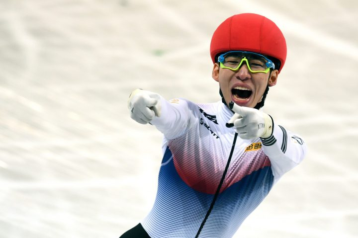 Hyo-Jun Lim of South Korea reacts after winning the men's 3,000-metre Superfinal finals at the ISU World Short-Track Speed Skating Championships in Sofia, Bulgaria, on March 10, 2019.