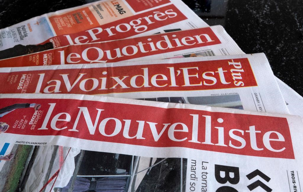 A selection of newspapers owned by Groupe Capitales Médias (GCM) are pictured in Montreal on Monday, August 19, 2019.