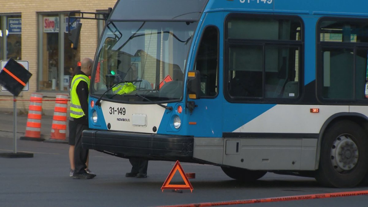 A pedestrian is critically injured after being hit by a Montreal city bus.