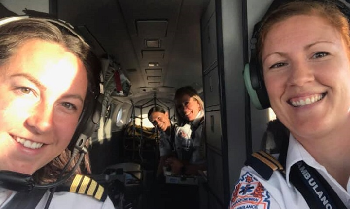 Pilot Carly St. Onge and co-pilot Tamara Kulyk are the only female pilots out of 25 with Saskatchewan Air Ambulance, which is also known as Lifeguard.