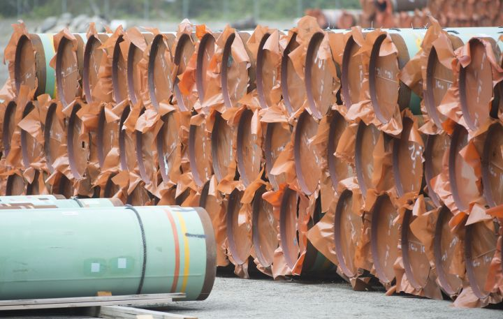 Pipeline pipes are seen at a Trans Mountain facility near Hope, B.C., Thursday, Aug. 22, 2019.