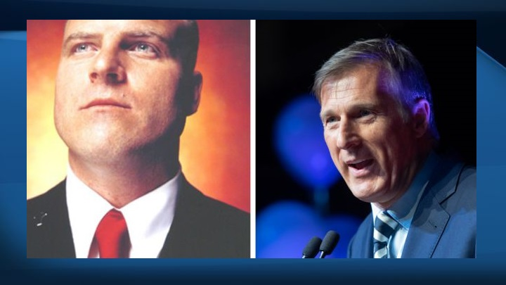 Shaun Walker is seen on the left and Maxime Bernier is seen on the right.