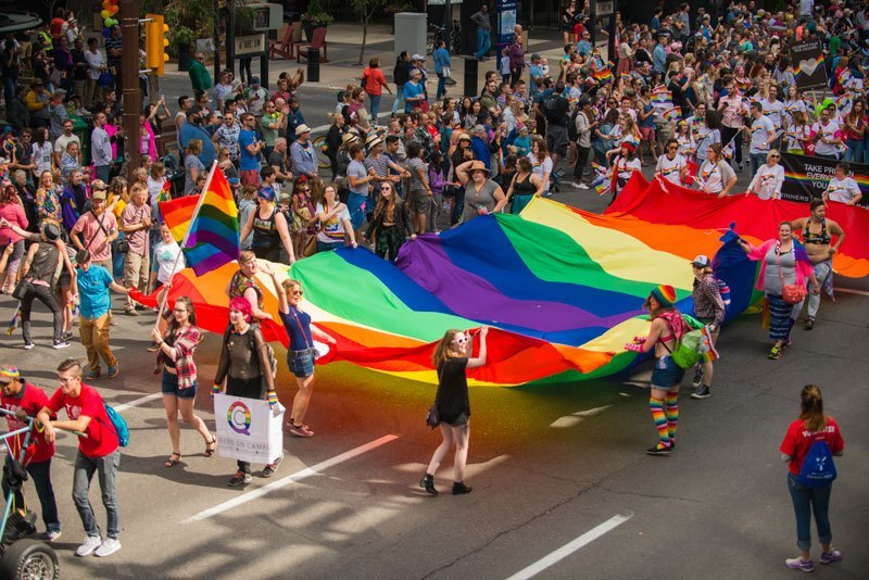 Thousands of people celebrate Calgary's Pride Parade.