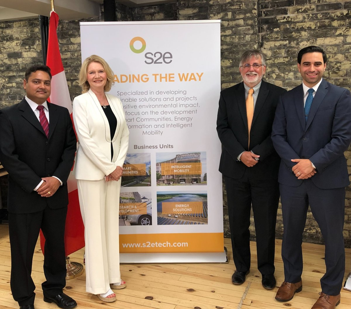 From left to right: Ady Vyas, s2e Technologies VP of Energy and Mobility Solutions, London West MP Kate Young, s2e Technlogies CEO Milfred Hammerbacher, and London North Centre MP Peter Fragiskatos.