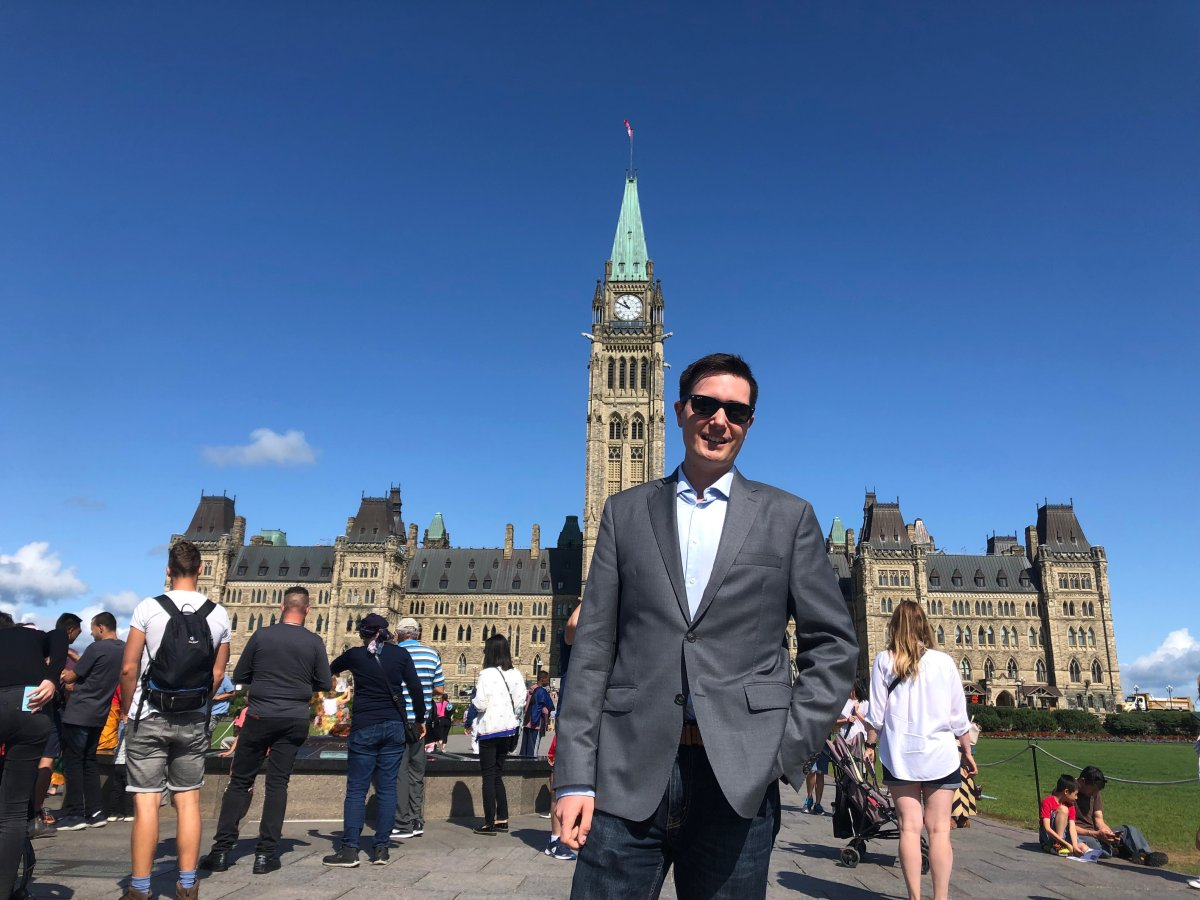 Scott Hayward, co-founder of RightNow, on Parliament Hill in Ottawa.