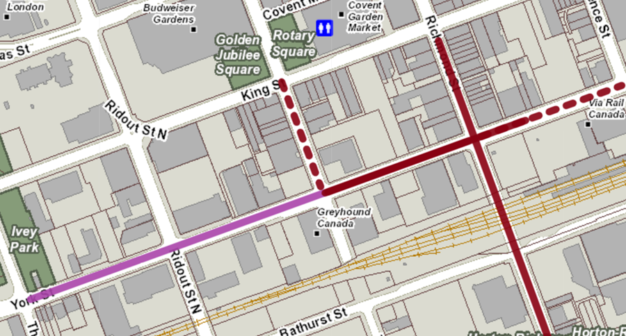 Talbot Street is closed between King and York streets until late October for the York Street Sewer Separation Project.