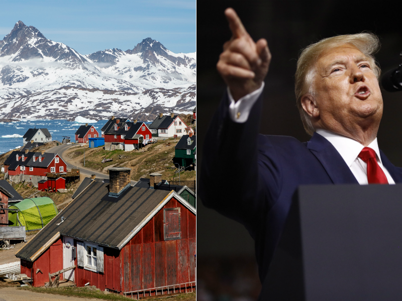 At left, Greenland. At right, U.S. President Donald Trump.