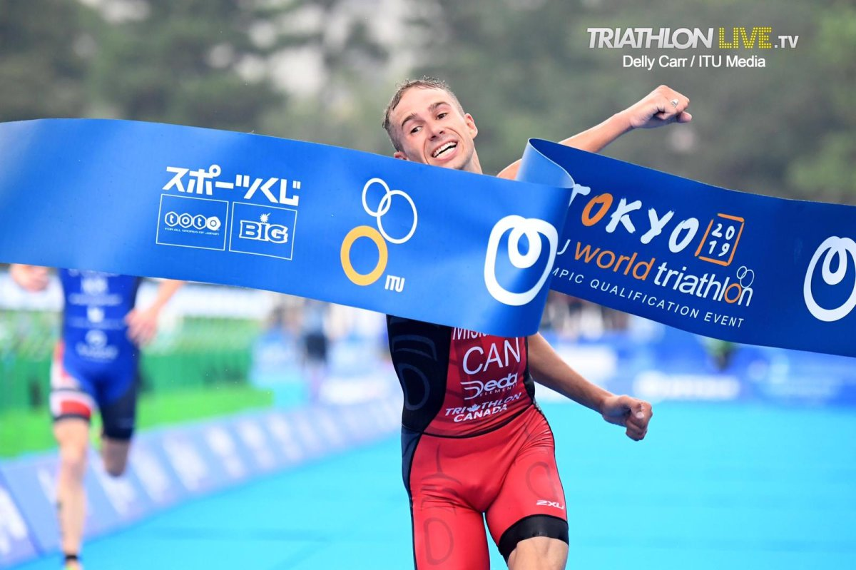 Oak Bluff, Manitoba's Tyler Mislawchuk crosses the finish line first in Tokyo at a Triathlon World Series Olympic Test event. Photo Credit: Delly Carr-ITU Media .