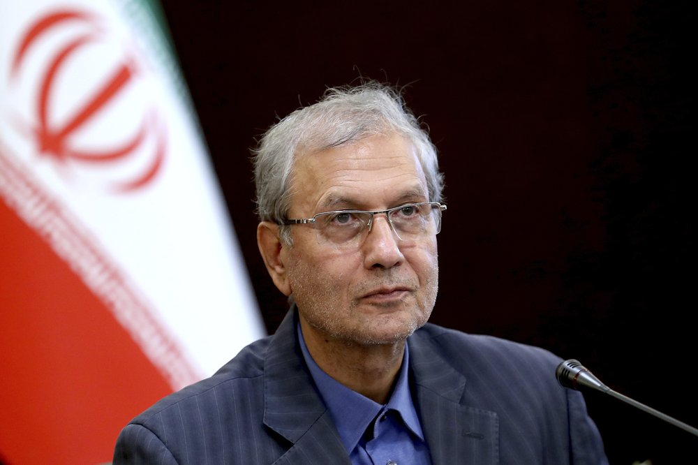 "In this July 7, 2019, photo, Iran's government spokesman Ali Rabiei speaks in a press briefing in Tehran, Iran. Iran will ""take a strong step"" away from its 2015 nuclear deal with world powers if Europe cannot offer the country new terms by a deadline at the end of this week, Rabiei said Monday as top Iranian diplomats traveled to France and Russia for last-minute talks."