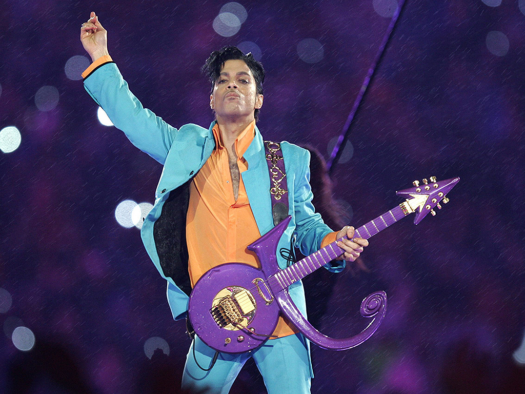Prince performs during the halftime show at the Super Bowl XLI football game at Dolphin Stadium in Miami, Fla., in 2007.