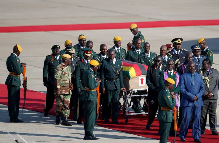The body of former Zimbabwean President Robert Mugabe arrives back in the country after he died on Friday (September 6) in Singapore after a long illness, Harare, Zimbabwe, Sept. 11, 2019.
