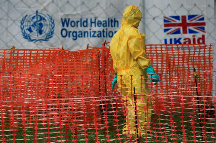 A person dressed in Ebola protective apparel is seen inside an Ebola care facility at the Bwera general hospital near the border with the Democratic Republic of Congo in Bwera, Uganda, June 14, 2019.