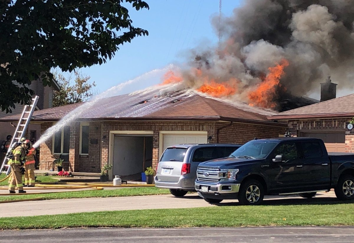 Fire crews battle a house fire at 30 Parkside Cres. on Sept. 30, 2019. The blaze left $400,000 in damage.