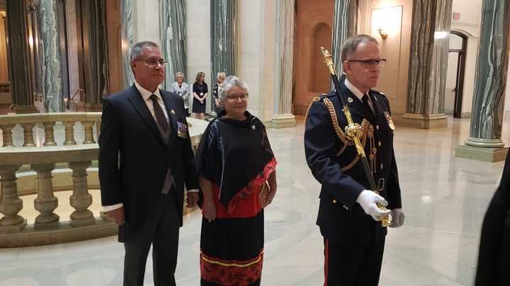 ussell Mirasty and his wife Donna about to enter the legislative chamber for his installation as Saskatchewan's 23rd lieutenant-governor.