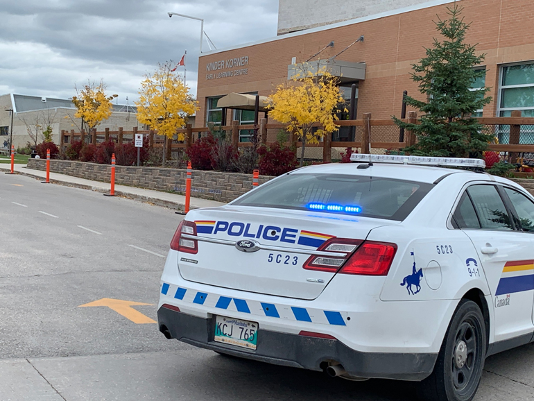 Police outside of Steinbach Secondary School.