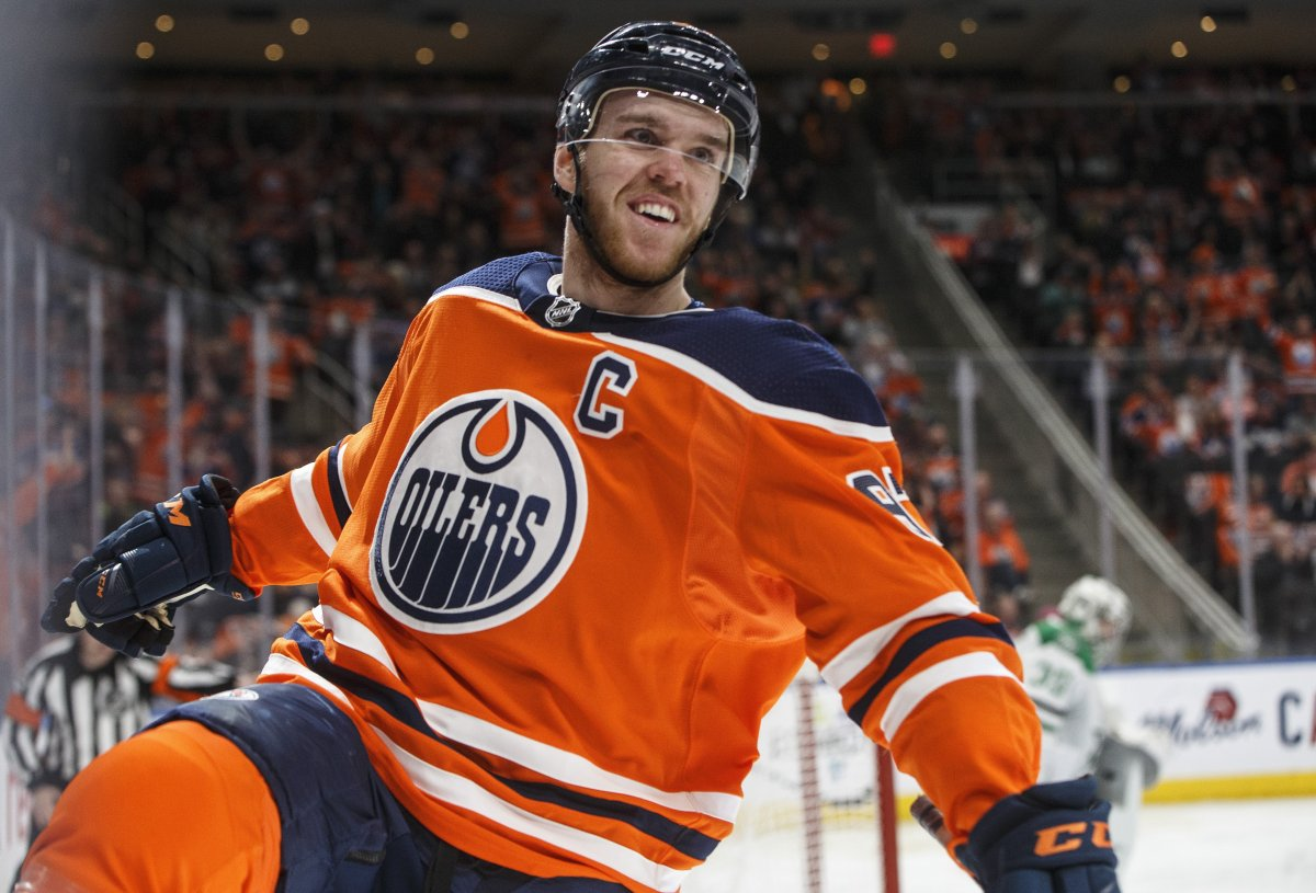 Edmonton Oilers' Connor McDavid (97) celebrates a goal against the Dallas Stars during second period NHL action in Edmonton, Alta., on Thursday March 28, 2019.
