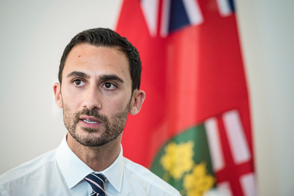 Ontario Minister of Education Stephen Lecce speaks to teachers before giving remarks, in Toronto, on Thursday, August 22, 2019.