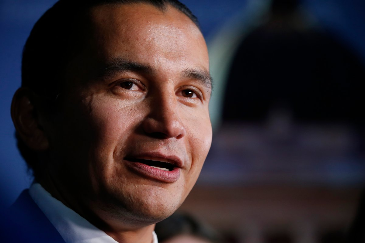 NDP leader Wab Kinew at a leaders' debate at CBC in Winnipeg, Wednesday, August 28, 2019. THE CANADIAN PRESS/John Woods.