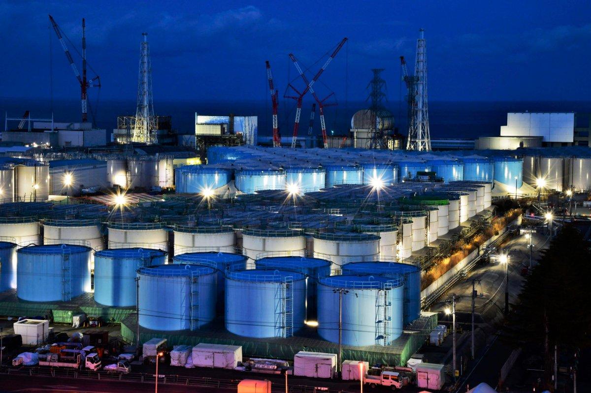 Water tanks containing contaminated water that has been treated at the Fukushima Dai-ichi nuclear plant in Okuma town, Fukushima prefecture, northeastern Japan on Jan. 25, 2019.