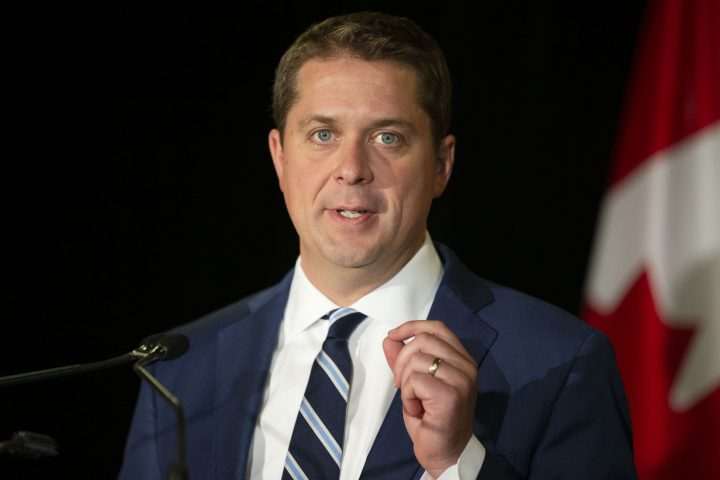 Conservative party Leader Andrew Scheer says if elected his government would create a certification system to let consumers know if certain digital products meet federal safety standards. Scheer addresses journalists during a news conference in Toronto, on Thursday, Aug. 29, 2019.