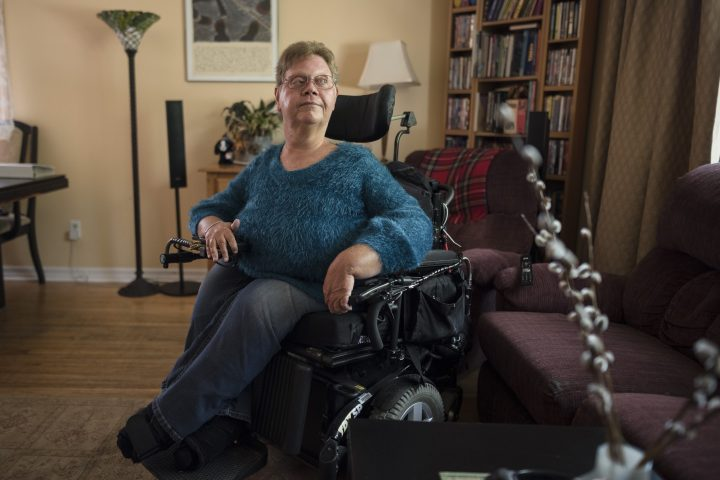 Tracy Odell, 61, president of Citizens with Disabilities Ontario and a lifelong advocate, poses for a photograph at her home in Scarborough, Ont., on Thursday, August 22, 2019.