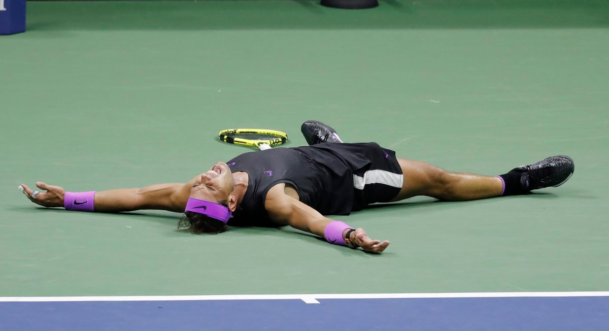 Rafael Nadal of Spain reacts after defeating Daniil Medvedev of Russia during the men's final match on the fourteenth day of the US Open Tennis Championships the USTA National Tennis Center in Flushing Meadows, New York, USA, 08 September 2019. The US Open runs from 26 August through 08 September.