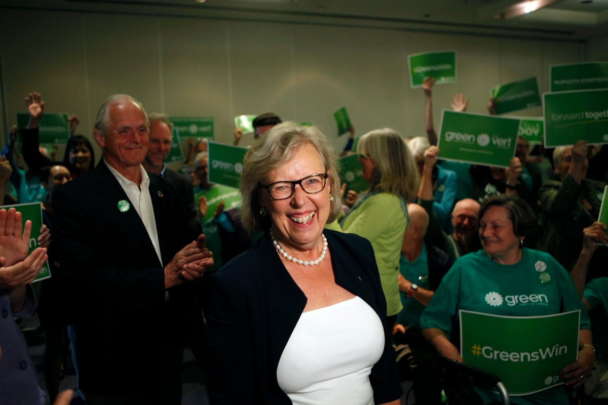 Green Party leader Elizabeth May arrives to announce the official launch of the Green Party of Canada election campaign as she's joined by green candidates during a press conference at the Delta Hotels Victoria Ocean Pointe Resort  in Victoria, B.C., on Wednesday, September 11, 2019.