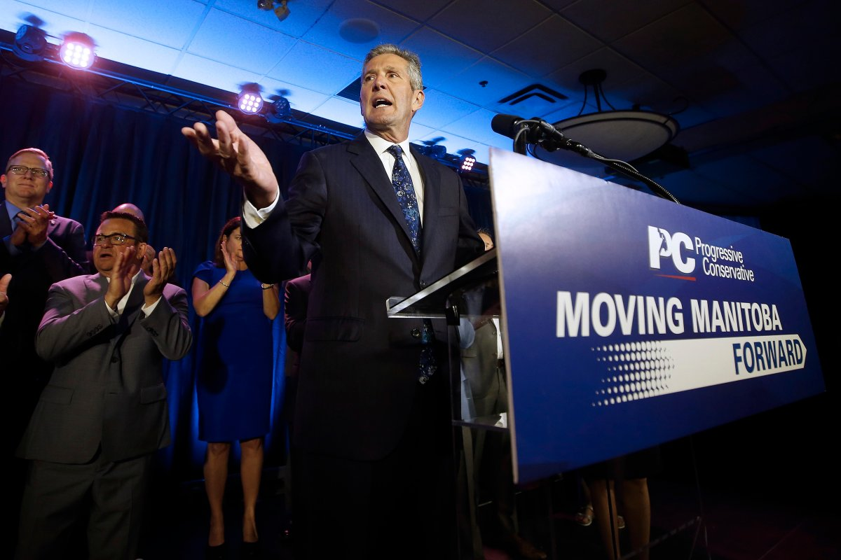 Manitoba PC Leader and Premier Brian Pallister celebrates winning the Manitoba election in Winnipeg, Tuesday, Sept. 10, 2019.
