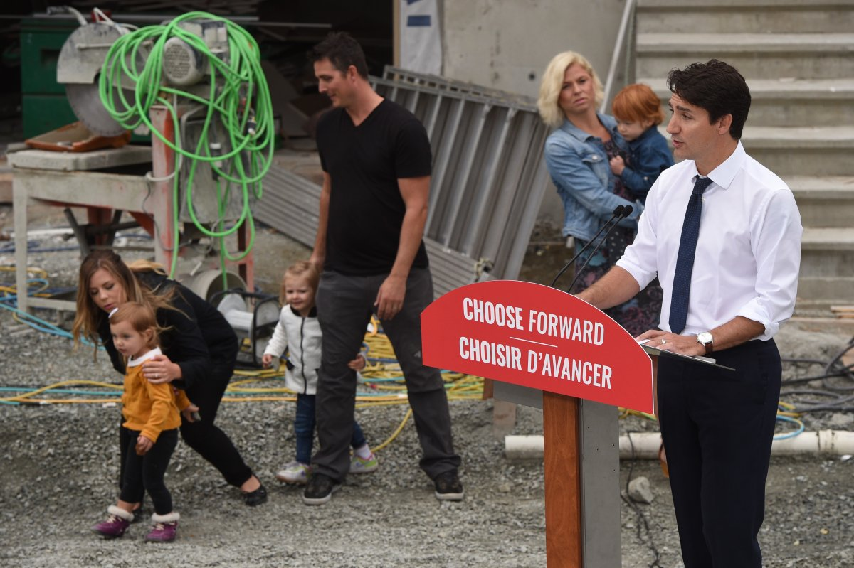 Liberal Leader Justin Trudeau promised a revamped version of a recently introduced federal incentive for first-time buyers during a campaign stop in Victoria on Thursday, Sept.12, 2019.