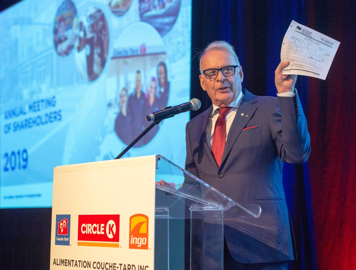 Couche-Tard founder and chairman Alain Bouchard speaks to shareholders the company's annual meeting Wednesday, September 18, 2019 in Laval, Que.